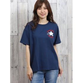 (TAKA-Q/タカキュー)コンバース/CONVERSE パッチロゴサガラ刺繍半袖Tシャツ/レディース ネイビー