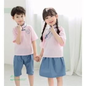 子供服 チャイナ学園風シャツ 刺繍 幼稚園 学生服子ども 制服 上下2点セット 可愛い 半ズボン 女の子 スカート 男の子 110150cm 半袖