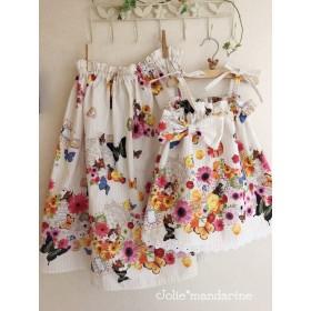 【受注オーダー】親子でお揃いコーデ♪ママ用ギャザースカートとお子様用ワンピース&スカートセット(Candy Party)