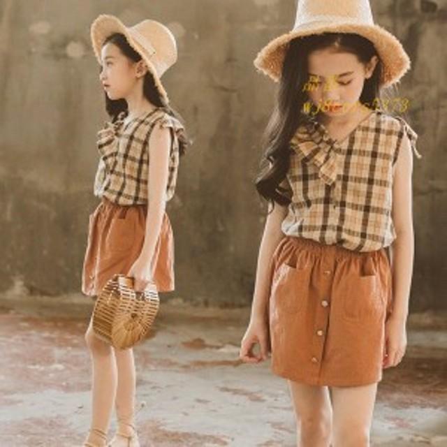 韓国子供服 女の子 Tシャツ スカジャン キッズ スカート セットアップ カジュアルスカートセット 2点上下セットフォーマル ダンス チェッ