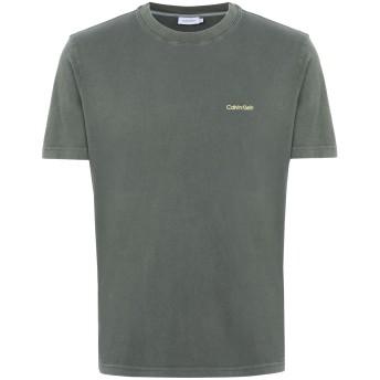 《期間限定セール開催中!》CALVIN KLEIN メンズ T シャツ ミリタリーグリーン S コットン 100% GARMENT DYE LOGO T-S