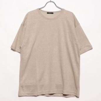 コムサイズム COMME CA ISM リネンクルーネックTシャツ (ベージュ)