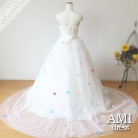 ウエディングドレスアレンジ用チュールドレス 小花 巻きスカート オーバースカート rbn2224