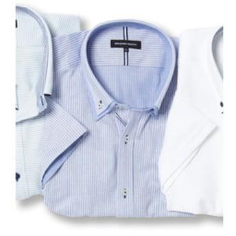 【GRAND-BACK:トップス】【大きいサイズ】 Biz 2枚衿ボタンダウン半袖カットビジネスドレスシャツ/ビズポロ/クールビズ