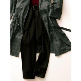 【m.f.editorial:パンツ】ベルト付裏起毛タックテーパードパンツ 黒