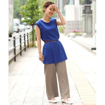 Tシャツ - REAL STYLE ノースリーブAラインスラブロングカットソー レディース トップス チュニック タンクトップ 袖なし ロング丈 シンプル ベーシック無地 透け感 ゆったり リラックス ラウンドネック フレア 涼しい コットン 韓国ファッション