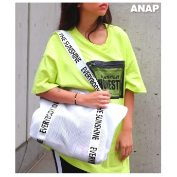 ANAP ロゴメッシュトートバッグ ホワイト