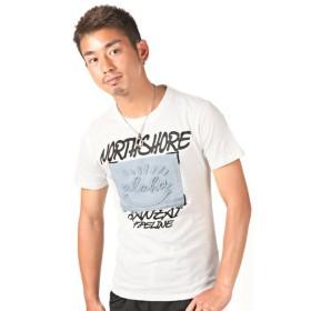 ラグスタイル 別布aloha貼り付けロゴプリント半袖Tシャツ/Tシャツ メンズ 半袖 ロゴ プリント メンズ ホワイト S 【LUXSTYLE】