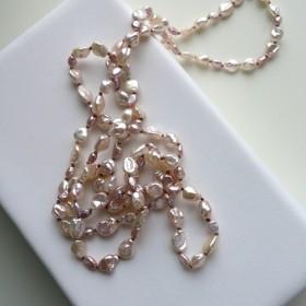 327-n/KESHI-champangne & lilac color-long: necklace