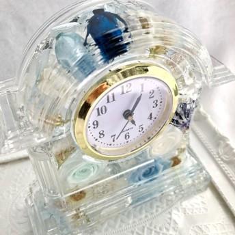 ハーバリウム☆美麗☆ Flower clock☆ライトブルー
