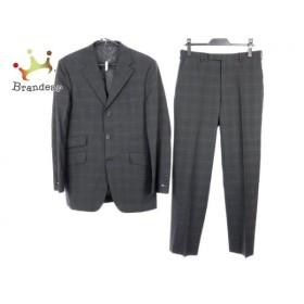 バーバリーブラックレーベル シングルスーツ サイズ40R メンズ 黒×グレー チェック柄   スペシャル特価 20190806