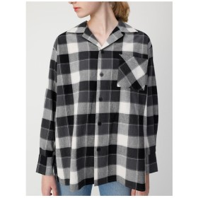 moussy OPENCOLLARチェックシャツ 柄ブラック