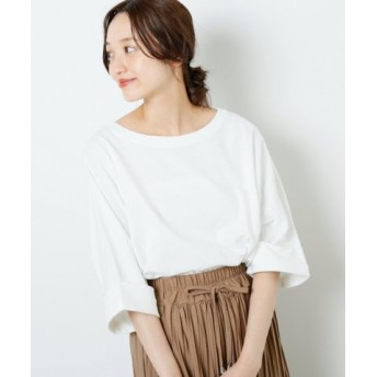 (Ray Cassin/レイカズン)空紡糸袖口折り返しビッグTシャツ/レディース オフ白