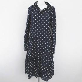 【中古】バレンシアガ BALENCIAGA 水玉 ドット柄 ロング ワンピース 絹 シルク 34 ネイビー 紺系 イタリア製 リボン