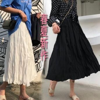 春夏新作 韓国ファッション 女子力アップ高品質 キラキラ消しプリーツスカートロング ホワイト/ブラック
