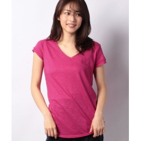 (SISLEY/シスレー)コットンモダール深Vネック半袖Tシャツ・カットソー/レディース ピンク