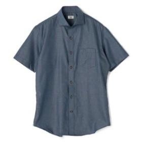 (Men's Bigi/メンズビギ)メランジシャンブレーショートスリーブシャツ/ホリゾンタルカラー/コットン100%/メンズ ネイビー 送料無料