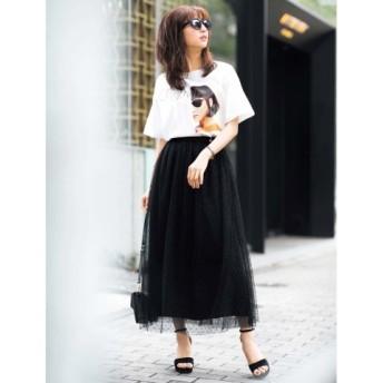 (GeeRa/ジーラ)ゆるシルエットデザインTシャツ/レディース ホワイト