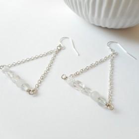 【SV925】 水と氷の三角ピアス