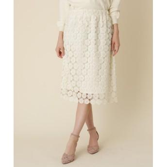Couture Brooch(クチュールブローチ) 【WEB限定プライス/WEB限定サイズ(S・LL)あり】フラワーレース タイトスカート