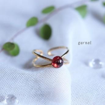 「Creema限定 ポイントアップ」小さなレッドガーネットの可愛いリング カボション サイズフリー ゴールド 指輪