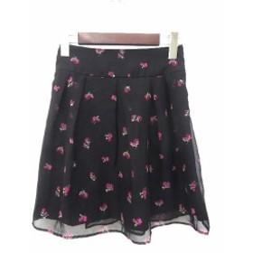 【中古】WILLSELECTION ウィルセレクション 花柄 タック シャーリング フレア ミニ スカート 1 ブラック ピンク系 レディース