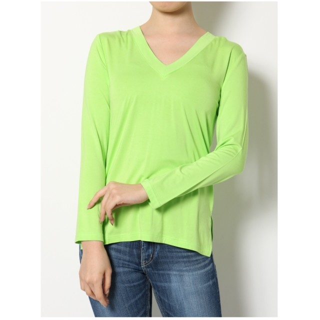 ジェイダ GYDA ベーシックVネックロングTシャツ (ライトグリーン)