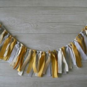 gold ribbonガーランド マスタード&ライトグレイ