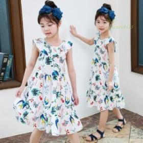 子供服 花柄 ワンピース ボヘミアン 爽やか バックレス ワンピース 海 女の子 ナチュラル キッズ ビーチ 夏 ワンピース 韓国風