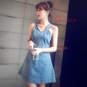 レディース激安 新作 新品 女性 かわいい シルエット スタイル 安い 無地 ワンピース ファッション デニム