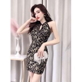 ドレス - DLXGIRL キャバドレス ボディコン ミニ ワンピース チャイナドレス風 バックオープン ラメ セクシー 激安 ドレス