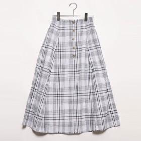 スタイルブロック STYLEBLOCK 先染めオーバーチェックフレアロングスカート (ホワイト)