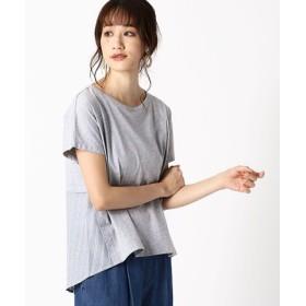 (COMME CA ISM/コムサイズム)ストライプ デザインTシャツ(ONIGIRI)/レディース サックス