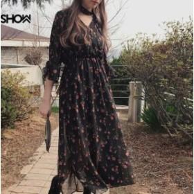 ワンピース シフォン ロング丈 花柄 トランペットスリーブ 7分袖 カジュアル デート 全2色