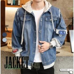 メンズ ジャケット デニムジャケット 2色 オシャレ 春 デニム 重ね着風 長袖 カジュアル コート 男性 帽子付き トップス S3XL 秋