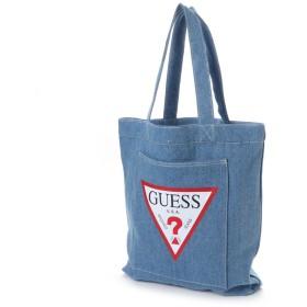 ゲス GUESS TRIANGLE LOGO DENIM SHOULDER TOTE BAG(MEDIUM BLUE)【ONLINE EXCLUSIVE ITEM】