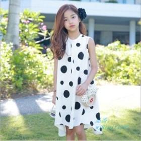 子供服 ワンピース 夏 女の子 水玉 ノースリーブワンピース ゆったり キッズ 韓国子供服 可愛い 親子ペア