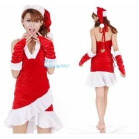 サンタ コスプレ クリスマスワンピース 衣装 赤 大人 女性 コスプレ サンタクロース サンタコス クリスマス Aライン 可愛い コスプレ衣装