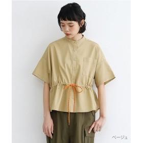 メルロー リネンミックスバンドカラードローコードシャツ レディース ベージュ FREE 【merlot】