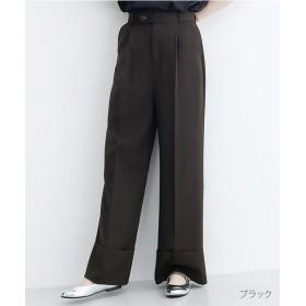 メルロー 裾折返しセンタープレスパンツ レディース ブラック FREE 【merlot】