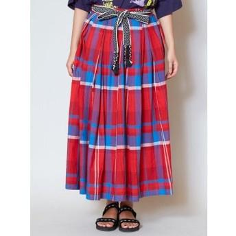 チャイハネ アフリカンチェック ロングスカート IDS 9205 レディース レッド Free 【CAYHANE】