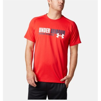 19S UA TECH TEXT TSHIRT UNDER ARMOUR (アンダーアーマー) 1331506 600 RED