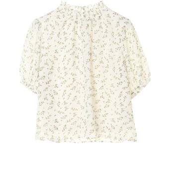【5,000円以上お買物で送料無料】花柄5分袖シフォンブラウス