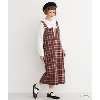 メルロー マドラスチェック柄ジャンパースカート レディース ブラウン FREE 【merlot】