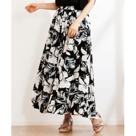 レーヨン水彩線花スカート【INCEDE】 (大きいサイズレディース)スカート,plus size
