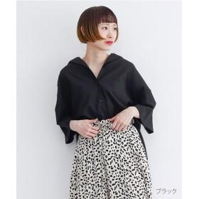 メルロー オープンカラースリットコットンシャツ レディース ブラック FREE 【merlot】