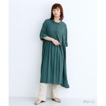 メルロー ウエスト切替ギャザーシャツワンピース レディース グリーン FREE 【merlot】