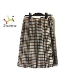 ダックス DAKS 巻きスカート レディース 美品 ベージュ×黒×マルチ チェック柄 新着 20190915