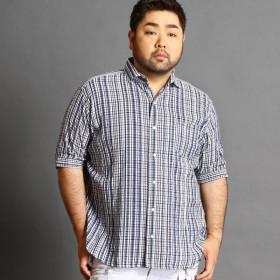 [マルイ] <大きいサイズ>五分袖ホリゾンタルカラーシャツ/ハイダウェイ(大きいサイズ)(HIDEAWAYS)
