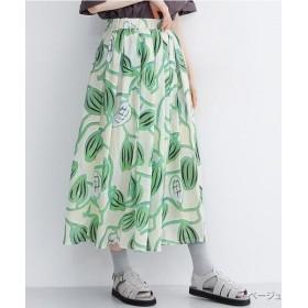 【40%OFF】 メルロー カカオ豆の木柄フレアスカート レディース ベージュ FREE 【merlot】 【セール開催中】